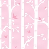 Pink Garden Butterflies and Bird Wall Mural