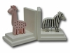 Pink Giraffe and Zebra Bookends with White Base