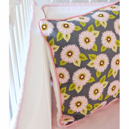Pink & Gray Dahlia Crib Bedding Set