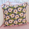 Pink & Gray Dahlia Square Throw Pillow