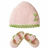Pink & Green Crocheted Hat and Bootie Set