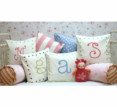 Pink & Green Monogram Pillow