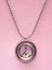 Pink License Plate Peace Sign Necklace