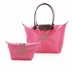 Pink Nylon Tote and Cosmetic Bag Set