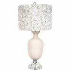 Pink Opaque Traditional Base Lamp With White Rose Garden Drum Shade