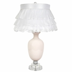 Pink Opaque Traditional Base Lamp With White Ruffled Sheet Skirt Shade
