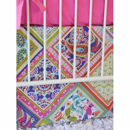 Pink Paisley Patch Crib Bedding Set