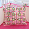 Pink Paisley Patch Square Throw Pillow