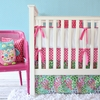Pink Paradise Flat Skirt Crib Bedding Set