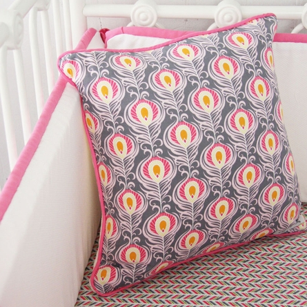 Pink Peacock Crib Bedding Set