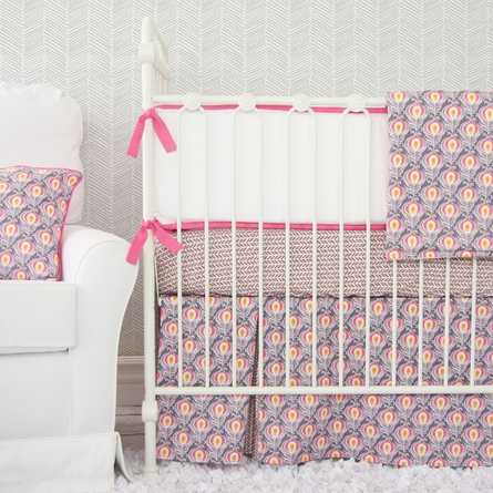 Pink Peacock Crib Sheet