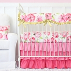 Pink Petunia Crib Bedding Set