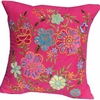 Pink Pillow with Flower Embroidery