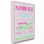 Pink Playroom Rules Typography Canvas Wall Art