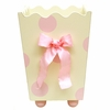 Pink Polka Dot Wooden Wastebasket