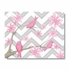 Pink Posies on Gray Chevron Canvas Reproduction
