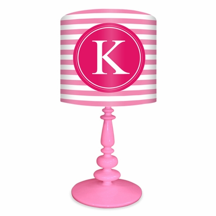 Pink & Raspberry Striped Monogram Lamp