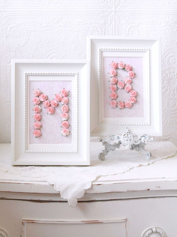 Pink Rose Personalized Initial Frame Rosenberryrooms Com
