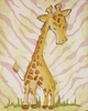 Pink Safari Giraffe Hand Painted Canvas