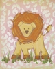 Pink Safari Lion Hand Painted Canvas
