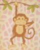 Pink Safari Monkey Hand Painted Canvas