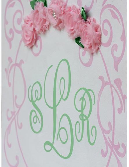 Pink Shabby Rose Hand Painted Wall Hanging