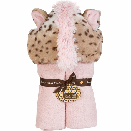Pink Snow Leopard Delxue Hooded Towel