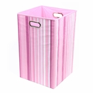 Pink Stripe Canvas Laundry Bin