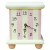 Pink Stripe Wooden Table Clock
