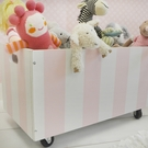 Pink Stripe Wooden Toy Crate