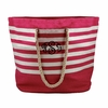 Pink Striped Monogram Beach Tote