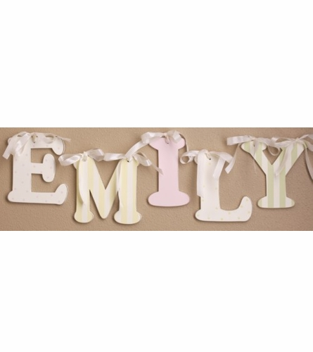 Pink Striped Wooden Mix & Match Wall Letter