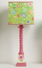 Pink Tall Twist Lamp With Flowers And Green Woodstock Square Shade