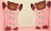 Pink Teddy Bear Wooden Bookends