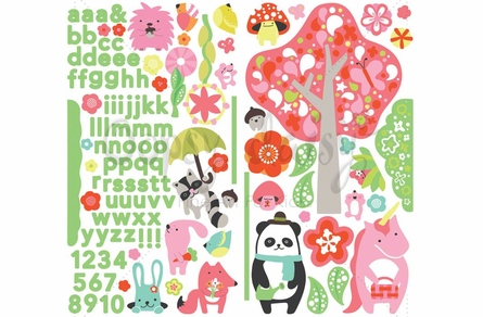 Pink Timberland Friends Peel & Place Wall Stickers
