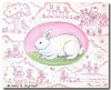 Pink Toile Bunny Canvas Reproduction
