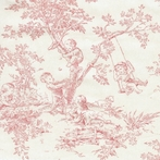 Pink Toile Upholstery Fabric by the Yard