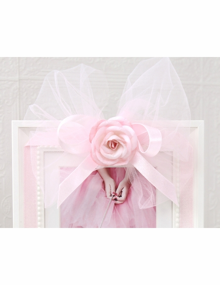 Pink Tulle Bow Picture Frame