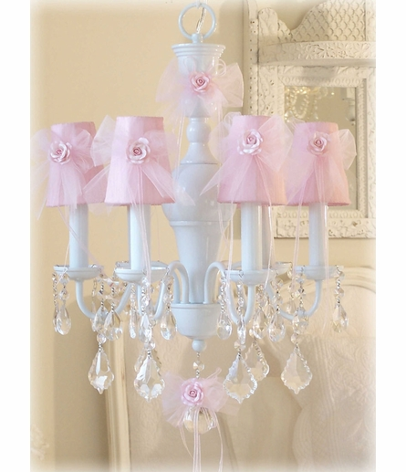 Pink Tulle Chandelier Shade