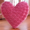 Pink Velvet Heart Throw Pillow with Pearl Accents