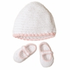Pink & White Crocheted Hat and Bootie Set