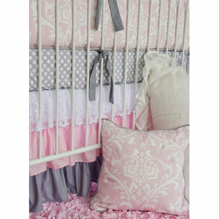 Pink & White Lace Damask Ruffle Crib Bedding Set