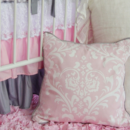 Pink & White Lace Damask Square Throw Pillow