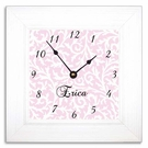 Pink & White Scroll Wall Clock with Wide Frame