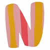 Pink & Yellow Stripe Wall Letter - N