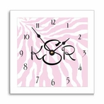 Pink Zebra Stripe Wall Clock with Narrow Frame