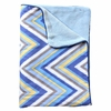 Ikat Blue Chevron Piped Baby Blanket