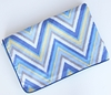 Piped Blanket - Ikat Blue Chevron