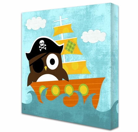 Pirate Owl Canvas Reproduction