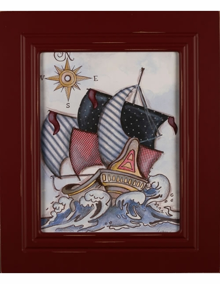 Pirate Ship Weathered Frame Art